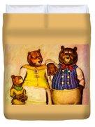 Three Bears Family Portrait Duvet Cover by Bob Orsillo