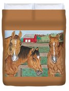 Three Beautiful Horses Duvet Cover
