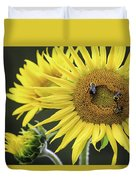 Three Bees On A Sunflower Duvet Cover