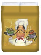 Three Bowl Chef On Gold Duvet Cover