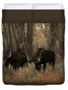 Three Bull Moose Sparring Duvet Cover