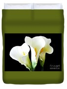 Three Calla Lilies On Black Duvet Cover