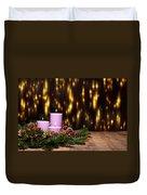 Three Candles In An Advent Flower Arrangement Duvet Cover