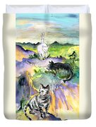 Three Cats On The Penon De Ifach Duvet Cover