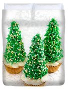 Three Christmastree Cupcakes  Duvet Cover