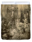 Three Crucifixes Duvet Cover by Rembrandt Harmenszoon van Rijn