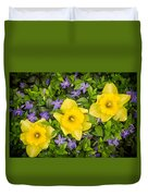 Three Daffodils In Blooming Periwinkle Duvet Cover