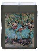 Three Dancers.blue Tutus Red Bodices Duvet Cover