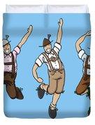 Three Dancing Oktoberfest Lederhosen Men Duvet Cover