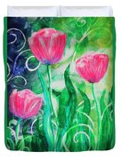 Three Dancing Tulips Duvet Cover