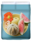 Three Different Melons In Bowl (overhead View) Duvet Cover