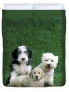 Three Diffferent Puppies Duvet Cover