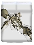 Three Dimensional View Of Female Spine Duvet Cover by Stocktrek Images