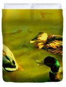 Three Ducks On Golden Pond Duvet Cover