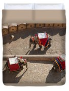 Three Elephants At Amber Fort Duvet Cover