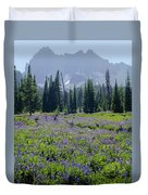 105417-three Fingered Jack And Wildflowers Duvet Cover