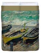 Three Fishing Boats Monet 1886 Duvet Cover