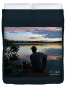 Three Fishing One Pole Duvet Cover