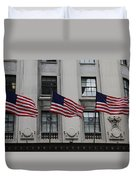 Three Flags Together On 5th Avenue Duvet Cover