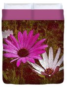 Three Flowers On Maroon Duvet Cover
