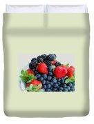 Three Fruit 2 - Strawberries - Blueberries - Blackberries Duvet Cover