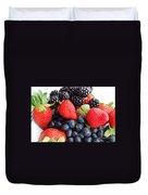 Three Fruit Closeup - Strawberries - Blueberries - Blackberries Duvet Cover by Barbara Griffin