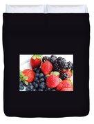Three Fruit - Strawberries - Blueberries - Blackberries Duvet Cover
