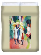 Three Girls With Yellow Hats Duvet Cover