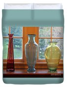 Three Glass Vases In A Window Duvet Cover