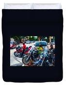 Three Guys On Bikes Duvet Cover