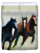 Three Horses On The Diagonal Duvet Cover