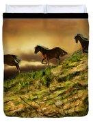 Three Horse's On The Run Duvet Cover