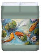 Three Koi Fishes - The Search Duvet Cover