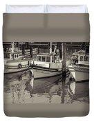 Three Little Boats Sepia Duvet Cover