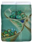 Three Martini Glasses With Jewels Duvet Cover