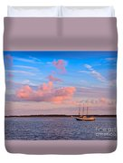 Three Masted Schooner At Anchor In The St Marys River Duvet Cover