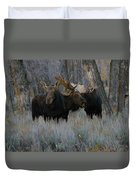 Three Moose In The Woods Duvet Cover