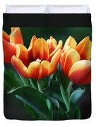 Three Orange And Red Tulips Duvet Cover