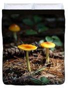 Three Orange Mushrooms Duvet Cover