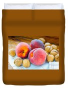 Three Peaches And Some Walnuts Duvet Cover