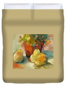 Three Pears And A Pot Duvet Cover
