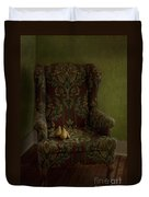 Three Pears Sitting In A Wing Chair Duvet Cover by Priska Wettstein