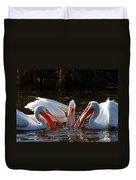Three Pelicans And A Fish Duvet Cover