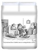 Three People Are Sitting In A Living Room Duvet Cover by Zachary Kanin