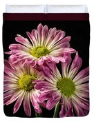Three Pink Flowers Duvet Cover