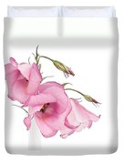 Three Pink Lisianthus Flowers Duvet Cover