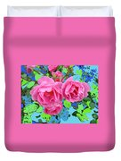 Three Pink Roses By M.l.d.moerings 2010 Duvet Cover
