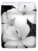 Three Plumeria Flowers In Black And White Duvet Cover