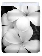 Three Plumeria Flowers In Black And White Duvet Cover by Sabrina L Ryan