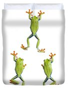 Three Red Eyed Tree Frogs Climbing Duvet Cover
